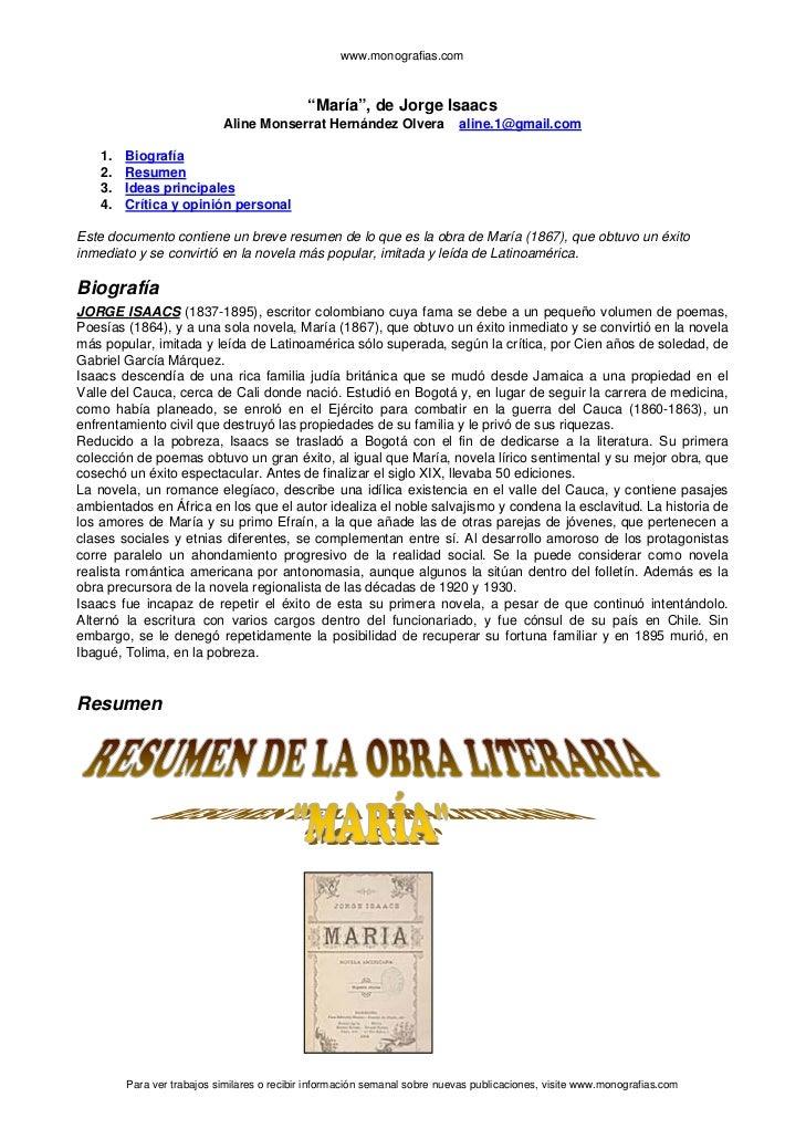 """www.monografias.com                                             """"María"""", de Jorge Isaacs                            Aline ..."""