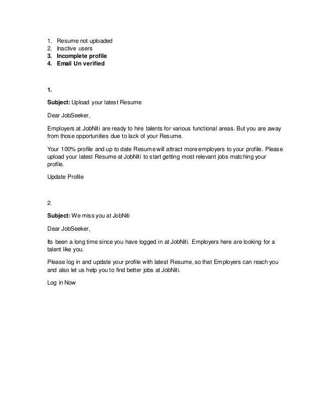 Resume not uploaded Email draft