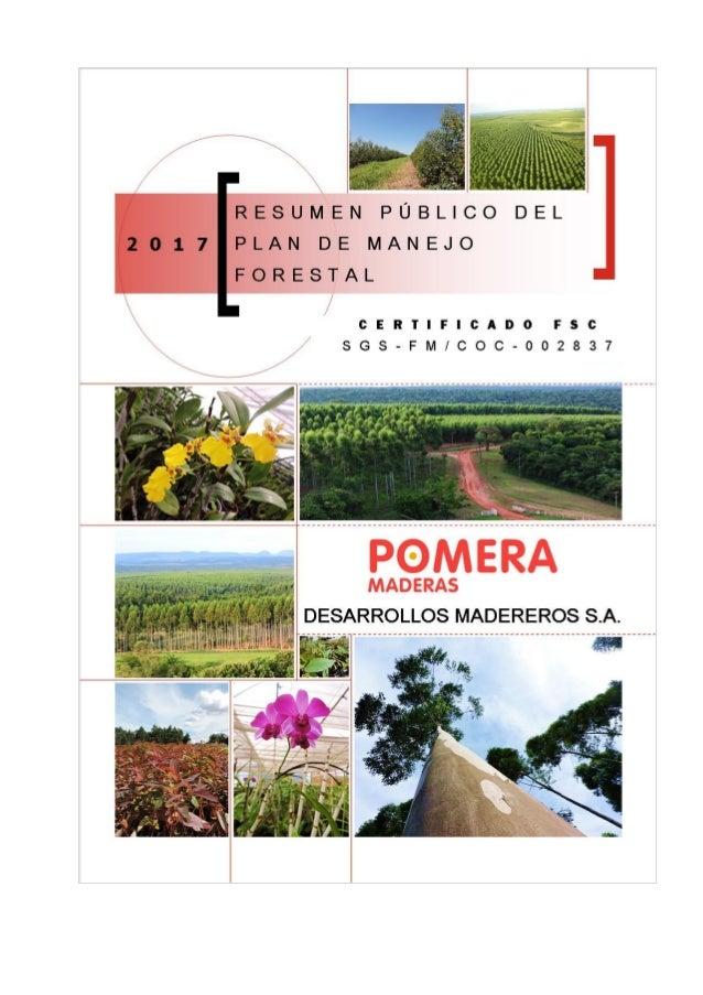 RESUMEN PÚBLICO DEL PLAN DE MANEJO – Año 2017 Página 2 de 12 INFORMACIÓN GENERAL Desarrollos Madereros S.A. es una empresa...