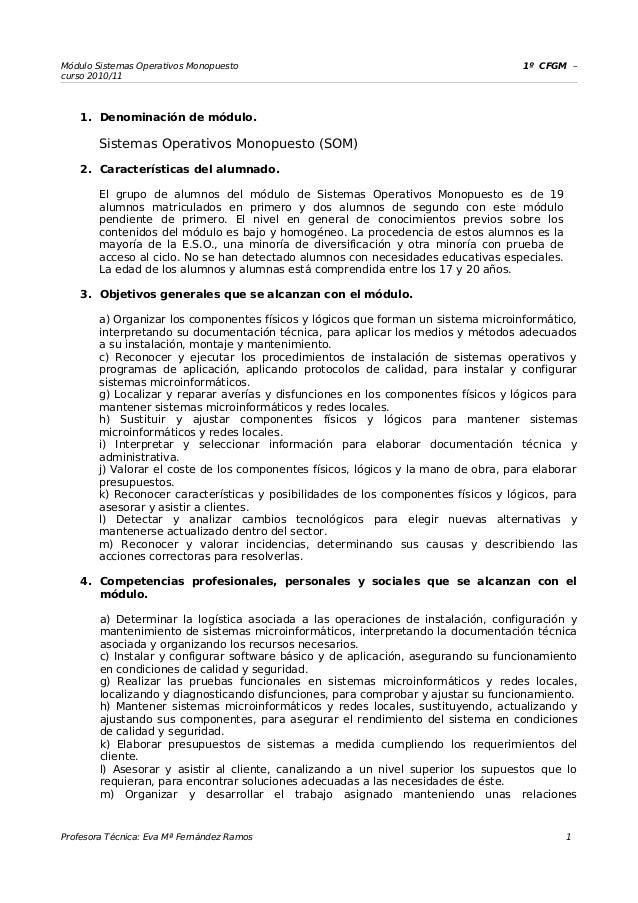 Módulo Sistemas Operativos Monopuesto 1º CFGM – curso 2010/11 1. Denominación de módulo. Sistemas Operativos Monopuesto (S...