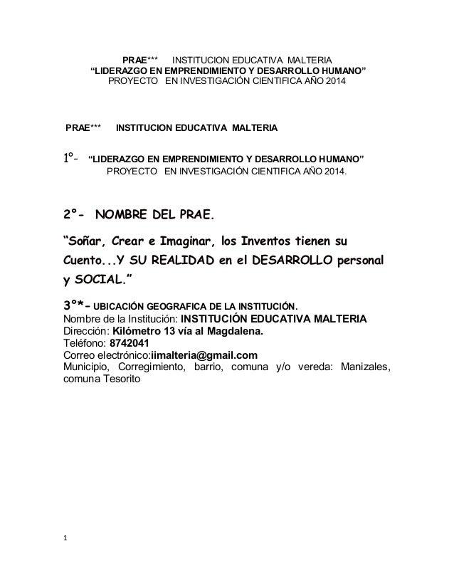 """PRAE*** INSTITUCION EDUCATIVA MALTERIA """"LIDERAZGO EN EMPRENDIMIENTO Y DESARROLLO HUMANO"""" PROYECTO EN INVESTIGACIÓN CIENTIF..."""