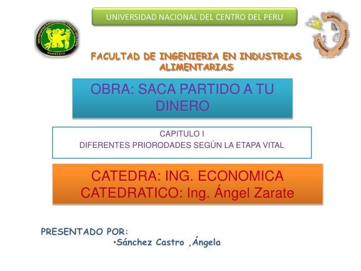 UNIVERSIDAD NACIONAL DEL CENTRO DEL PERU         FACULTAD DE INGENIERIA EN INDUSTRIAS                     ALIMENTARIAS    ...