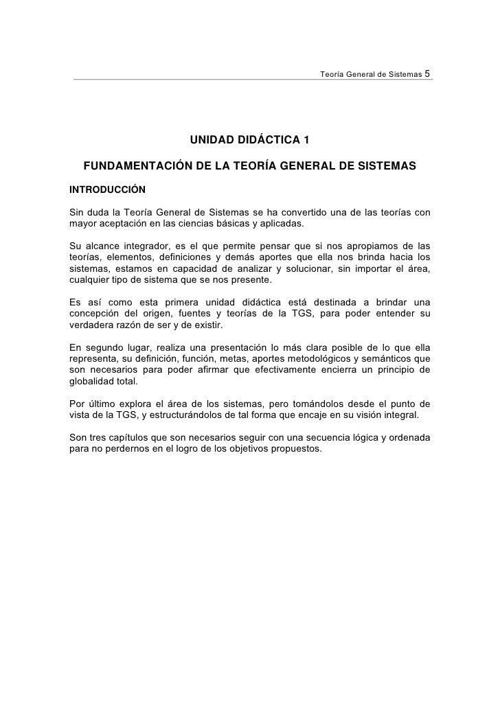 Teoría General de Sistemas 5                           UNIDAD DIDÁCTICA 1   FUNDAMENTACIÓN DE LA TEORÍA GENERAL DE SISTEMA...