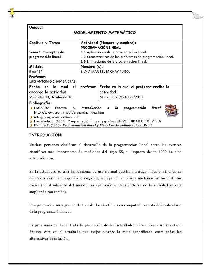 Unidad:                              MODELAMIENTO MATEMÁTICO  Capitulo y Tema:               Actividad (Numero y nombre): ...