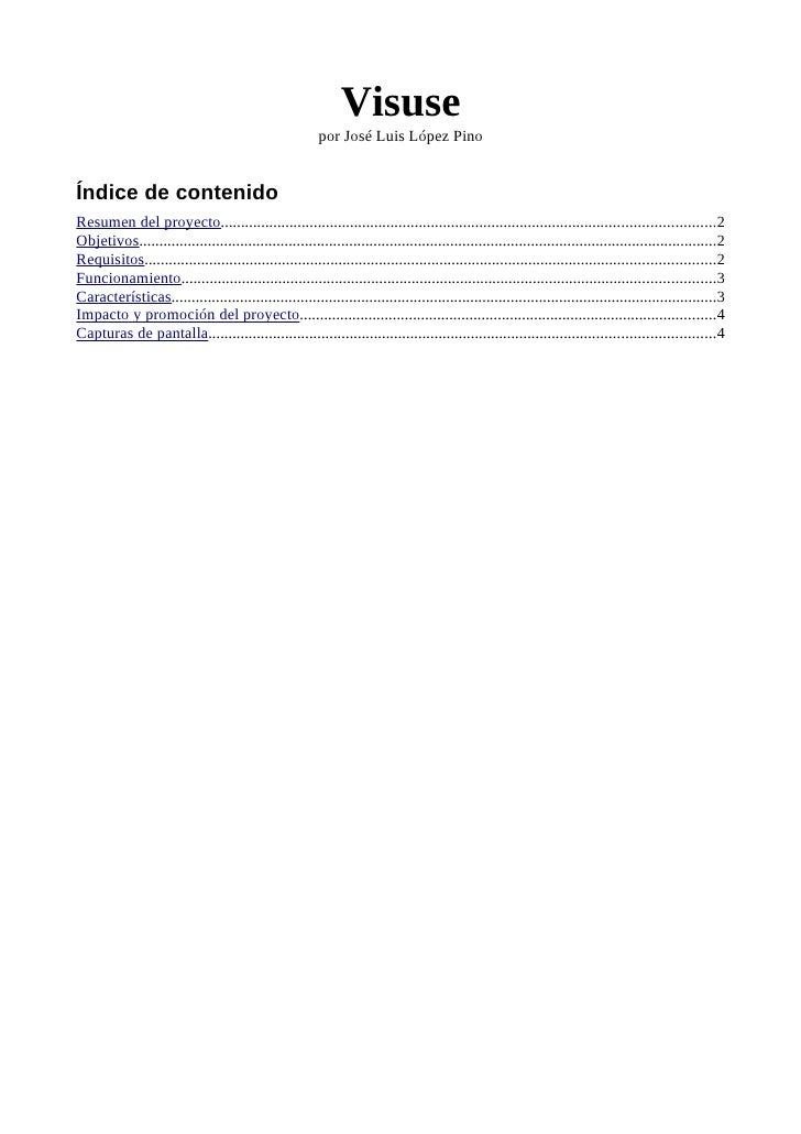 Visuse                                                          por José Luis López Pino   Índice de contenido Resumen del...