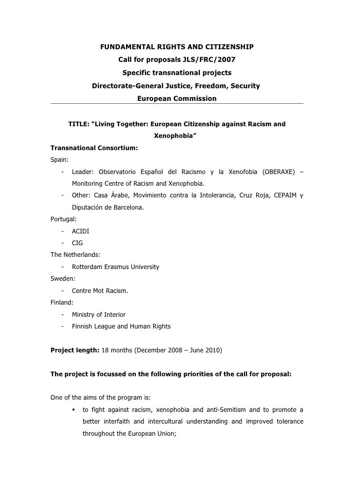 FUNDAMENTAL RIGHTS AND CITIZENSHIP                           Call for proposals JLS/FRC/2007                            Sp...