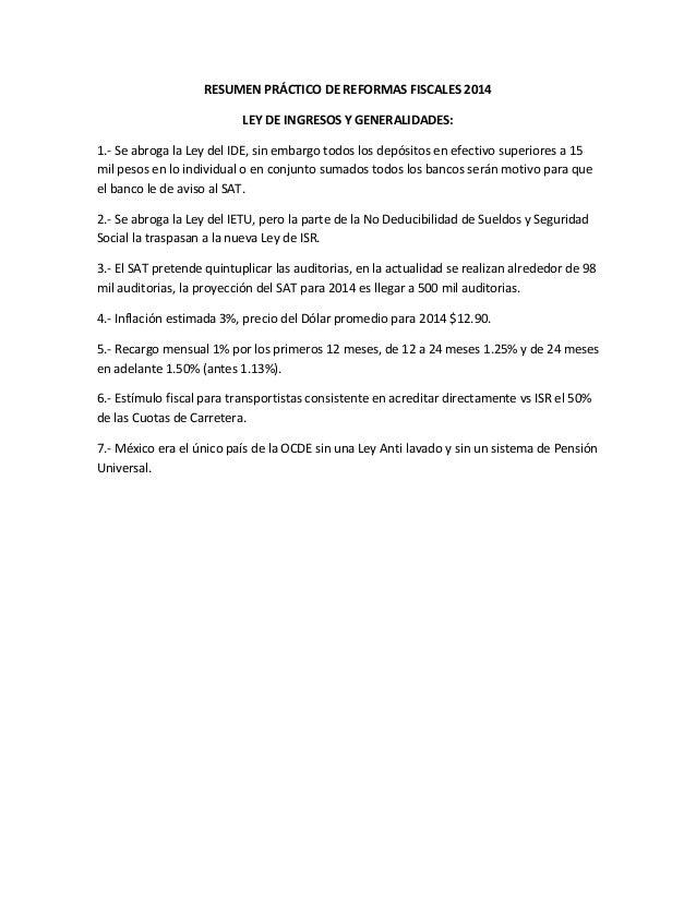 Resumen Reforma Fiscal 2014
