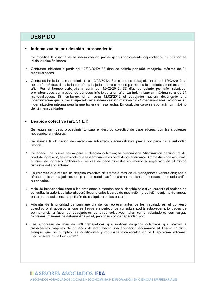 Resumen Reforma Laboral 2012 - Ley 3/2012 Slide 2
