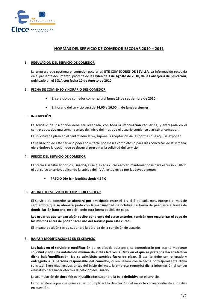 Resumen reglamento comedor escolar 2010 11 1 for Normas para el comedor escolar