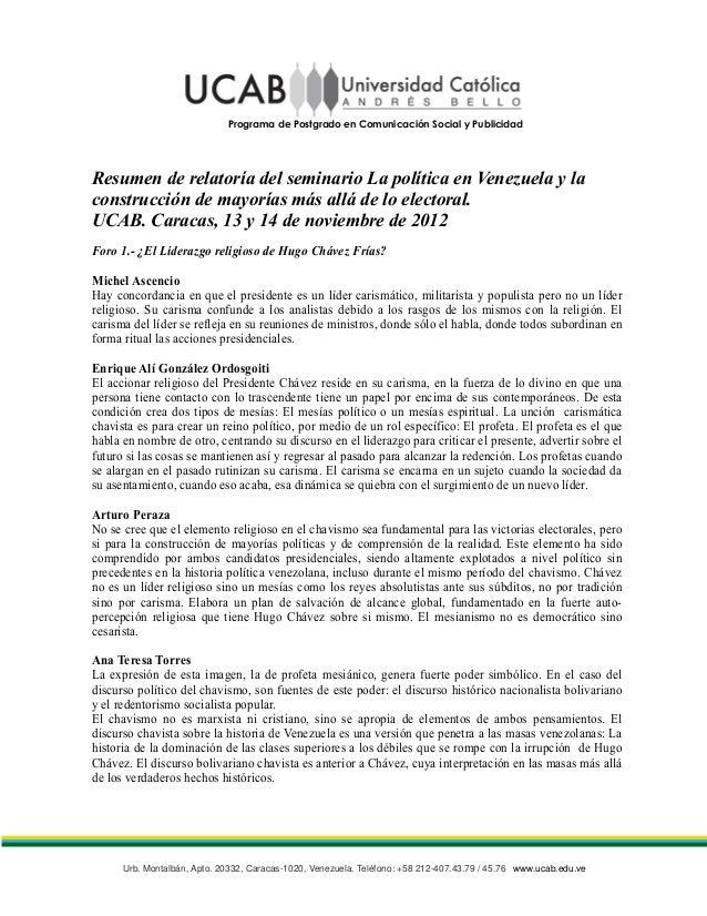 Programa de Postgrado en Comunicación Social y PublicidadResumen de relatoría del seminario La política en Venezuela y lac...