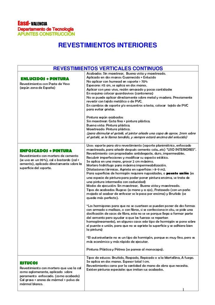 Easd- VALENCIADepartamento de TecnologíaAPUNTES CONSTRUCCIÓN                         REVESTIMIENTOS INTERIORES            ...