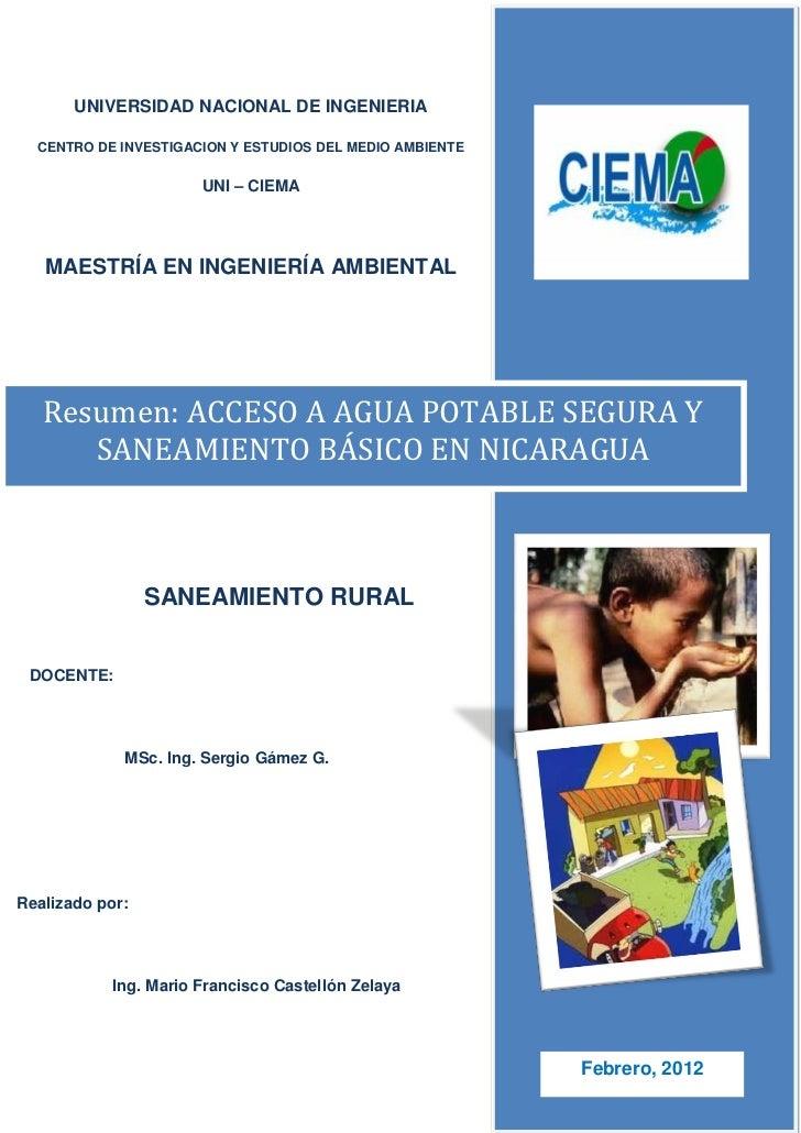 UNIVERSIDAD NACIONAL DE INGENIERIA  CENTRO DE INVESTIGACION Y ESTUDIOS DEL MEDIO AMBIENTE                       UNI – CIEM...