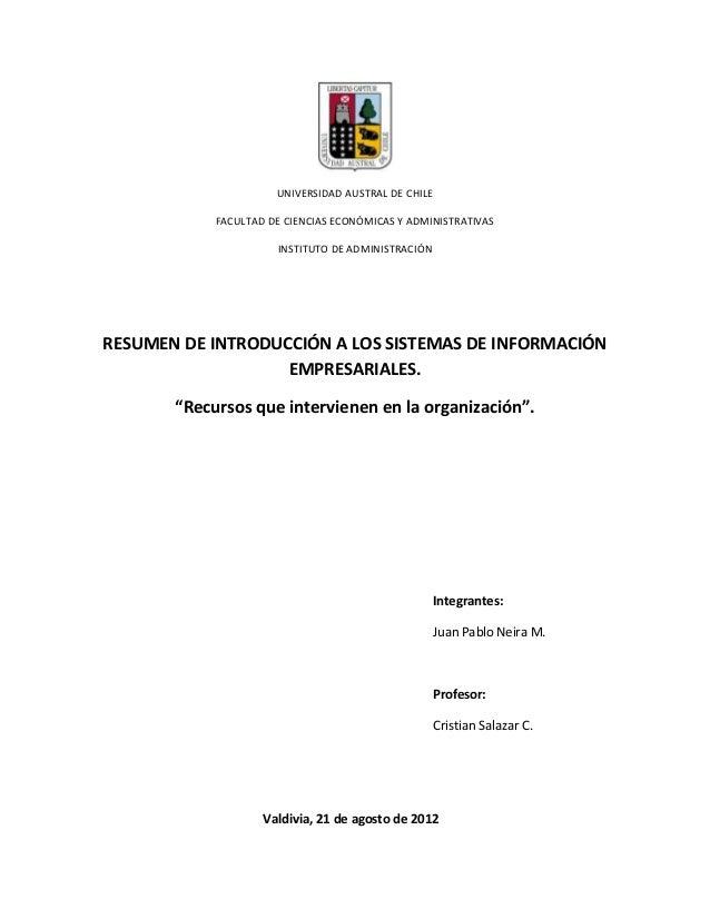 UNIVERSIDAD AUSTRAL DE CHILE            FACULTAD DE CIENCIAS ECONÓMICAS Y ADMINISTRATIVAS                      INSTITUTO D...