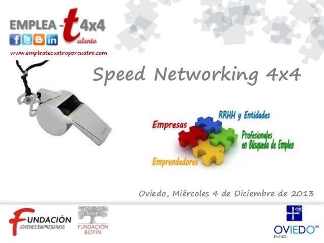 www.empleatecuatroporcuatro.com  Speed Networking 4x4  Oviedo, Miércoles 4 de Diciembre de 2013