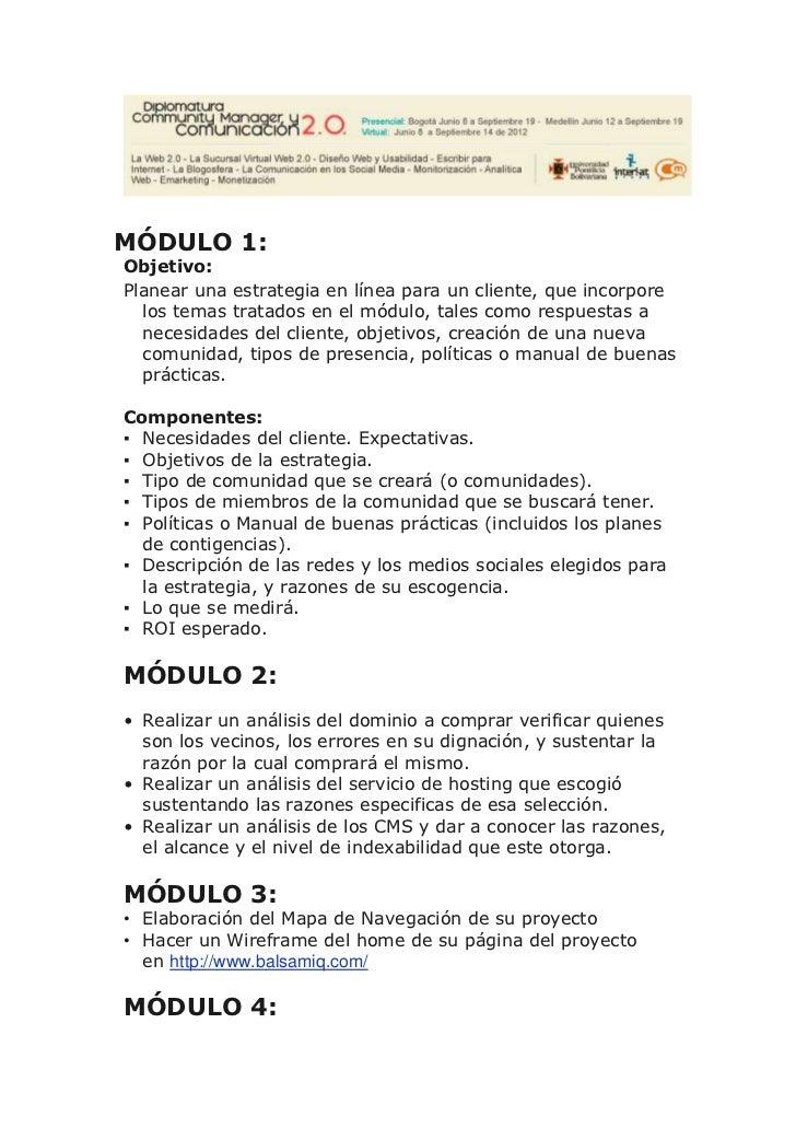 MÓDULO 1:Objetivo:Planear una estrategia en línea para un cliente, que incorpore  los temas tratados en el módulo, tales c...