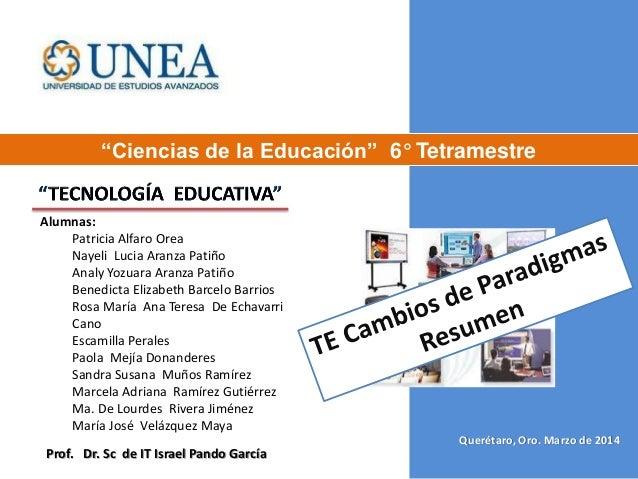 """Querétaro, Oro. Marzo de 2014 """"Ciencias de la Educación"""" 6° Tetramestre Prof. Dr. Sc de IT Israel Pando García Alumnas: Pa..."""