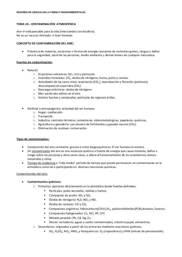RESUMEN DE CIENCIAS DE LA TIERRA Y MEDIOAMBIENTALES TEMA 10-. CONTAMINACIÓN ATMOSFÉRICA Aire→ indispensable para la vida (...
