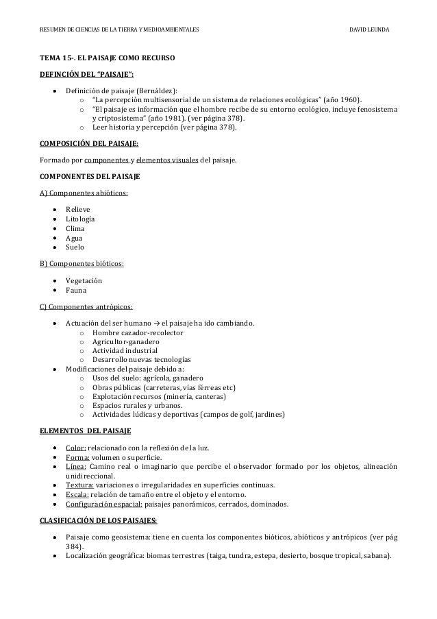 RESUMEN DE CIENCIAS DE LA TIERRA Y MEDIOAMBIENTALES                                            DAVID LEUNDATEMA 15-. EL PA...