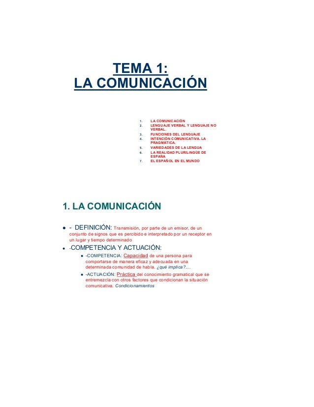 TEMA 1: LA COMUNICACIÓN 1. LA COMUNICACIÓN 2. LENGUAJE VERBAL Y LENGUAJE NO VERBAL. 3. FUNCIONES DEL LENGUAJE 4. INTENCIÓN...