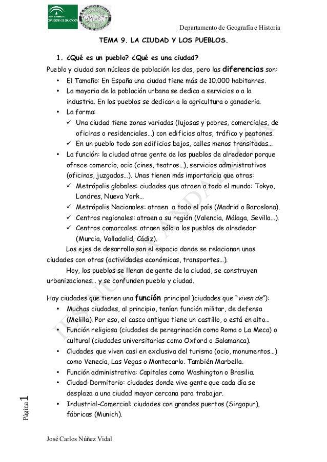 Departamento de Geografía e HistoriaJosé Carlos Núñez VidalPágina1 TEMA 9. LA CIUDAD Y LOS PUEBLOS.1. ¿Qué es un pueblo?...