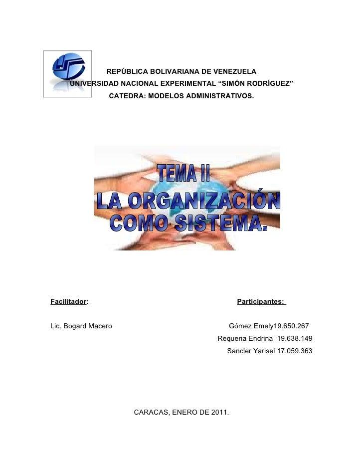 "REPÚBLICA BOLIVARIANA DE VENEZUELA      UNIVERSIDAD NACIONAL EXPERIMENTAL ""SIMÓN RODRÍGUEZ""                 CATEDRA: MODEL..."