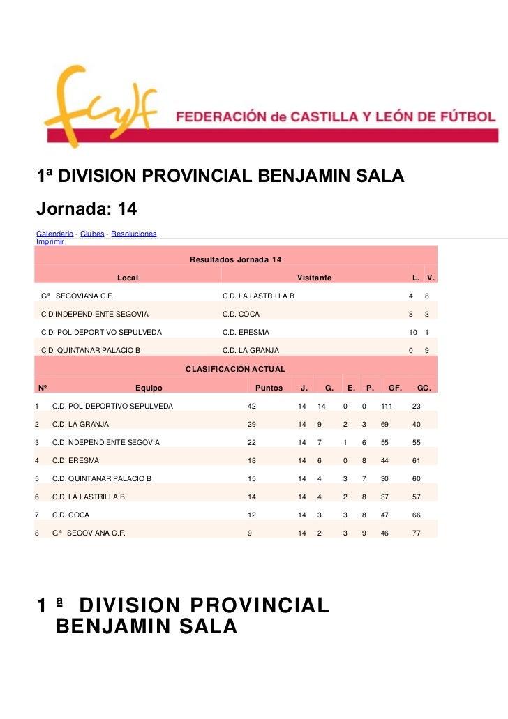 1ª DIVISION PROVINCIAL BENJAMIN SALAJornada: 14Calendario - Clubes - ResolucionesImprimir                                 ...
