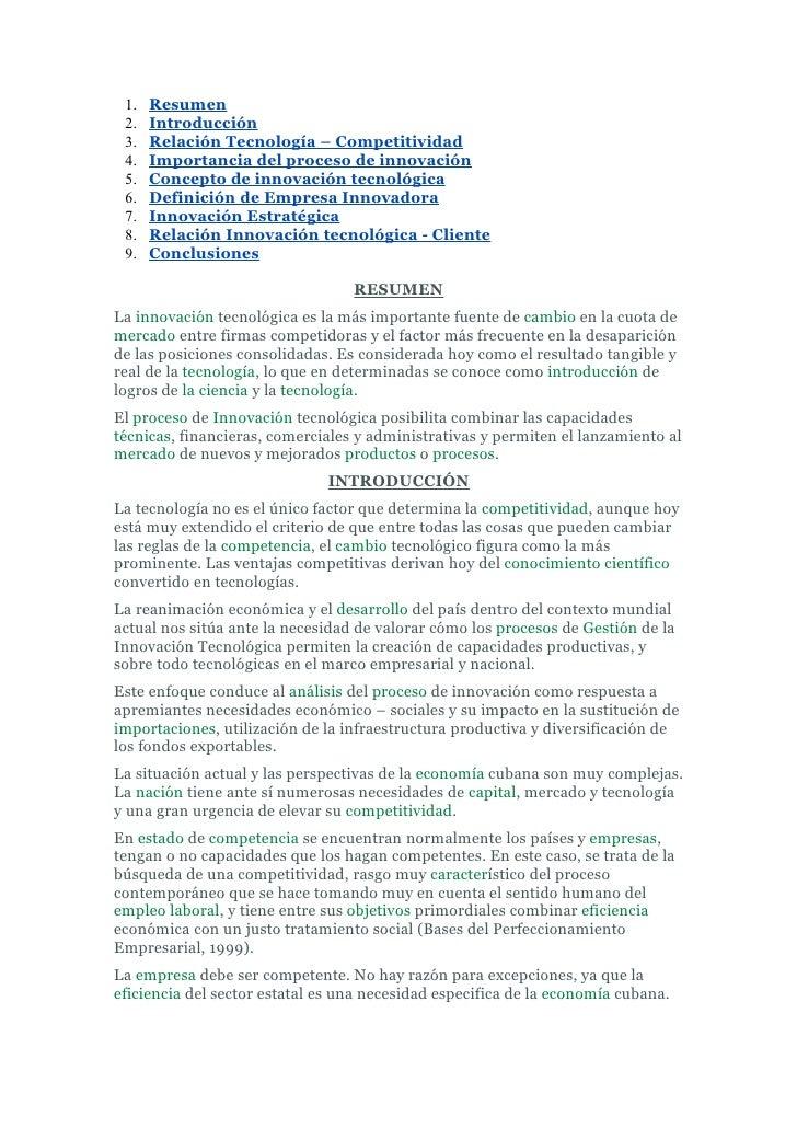 1.   Resumen  2.   Introducción  3.   Relación Tecnología – Competitividad  4.   Importancia del proceso de innovación  5....