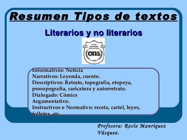 Resumen Tipos De Textos