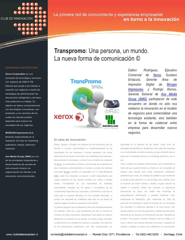 Transpromo: Una persona, un mundo.                                       La nueva forma de comunicación © EMPRESAS EXPOSIT...