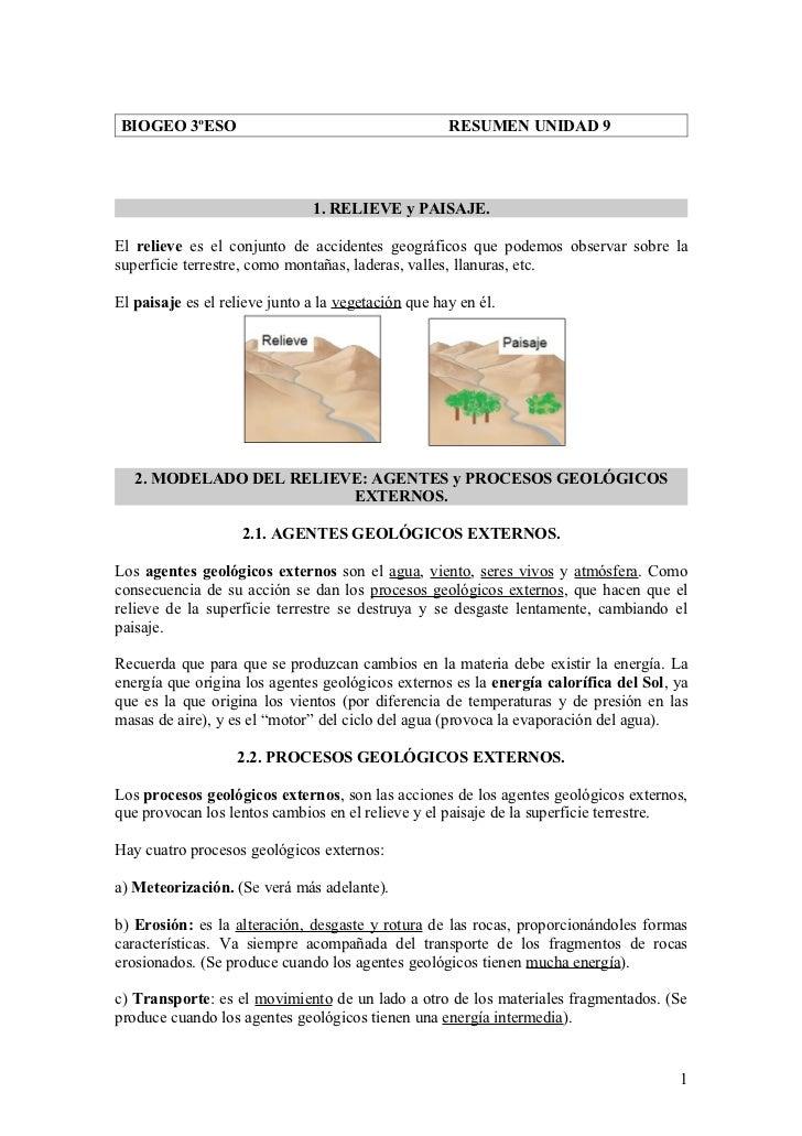 BIOGEO 3ºESO                                         RESUMEN UNIDAD 9                               1. RELIEVE y PAISAJE.E...