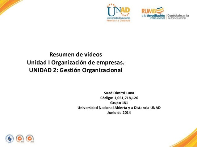 Resumen de videos Unidad I Organización de empresas. UNIDAD 2: Gestión Organizacional Soad Dimitri Luna Código: 1,061,718,...