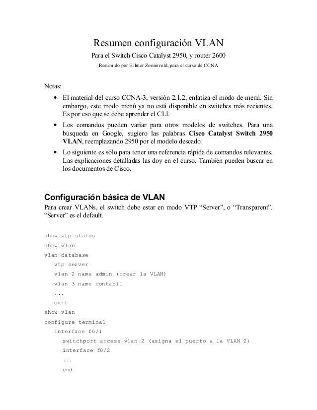 Resumen configuración VLAN Para el Switch Cisco Catalyst 2950, y router 2600 Resumido por Hilmar Zonneveld, para el curso ...