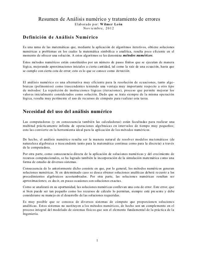 Resumen de Análisis numérico y tratamiento de errores                                    Elaborado por: Wilmer León       ...