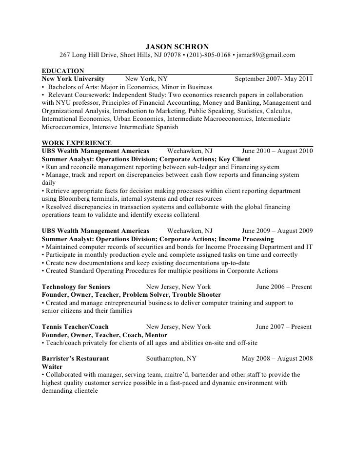 Resume for mba college application