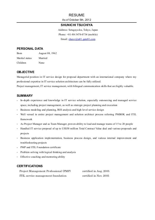 RESUME                                           As of October 5th, 2012                                          SHUNICHI...