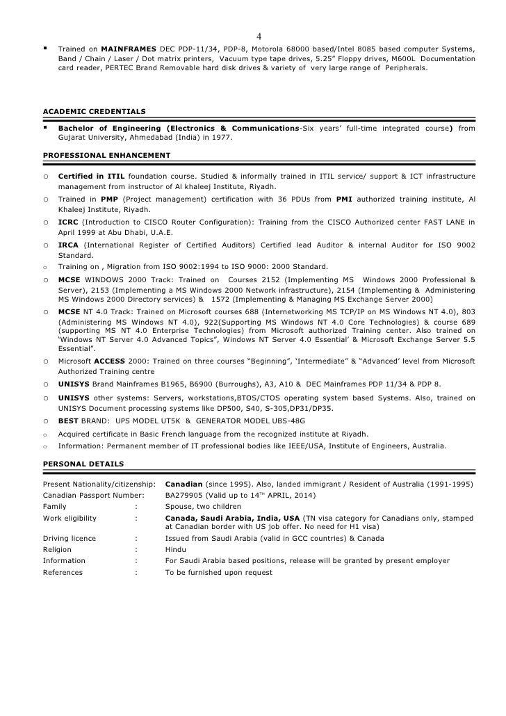 resume of anant canadian citizen living in saudi arabia