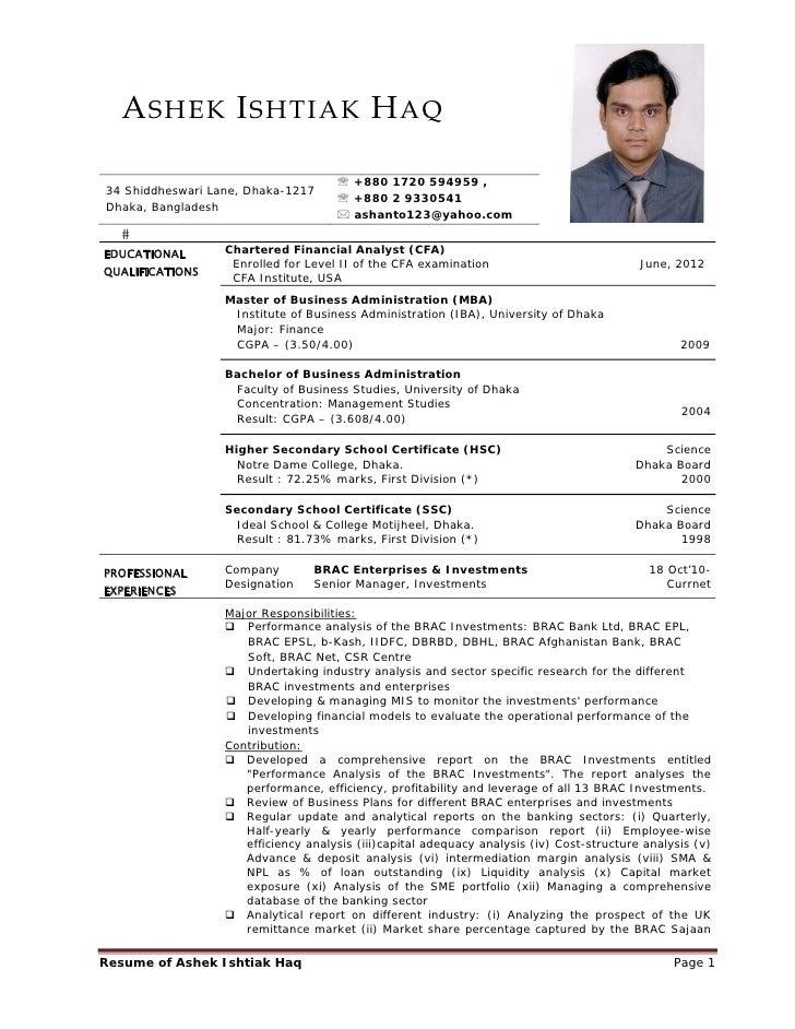 resume of ashek ishtiak haq october