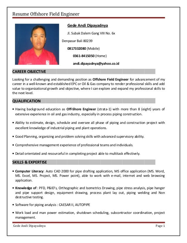 resume offshore field engineer gede andi dipayadnya jl subak dalem gang viii no - Piping Field Engineer Sample Resume