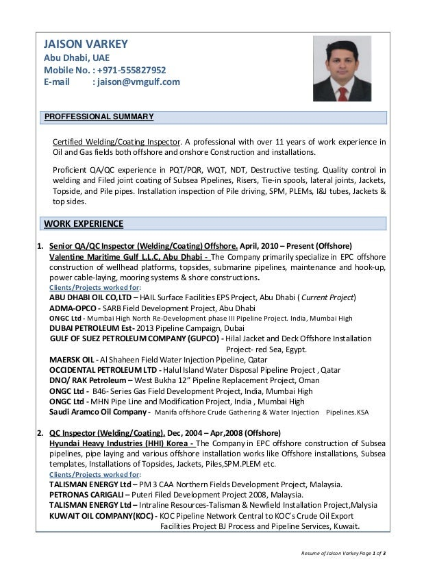 Resume of jaison varkey qaqc inspector weldingcoating offshore oi resume of jaison varkey page 1 of 3 jaison varkey abu dhabi uae mobile no yelopaper Images