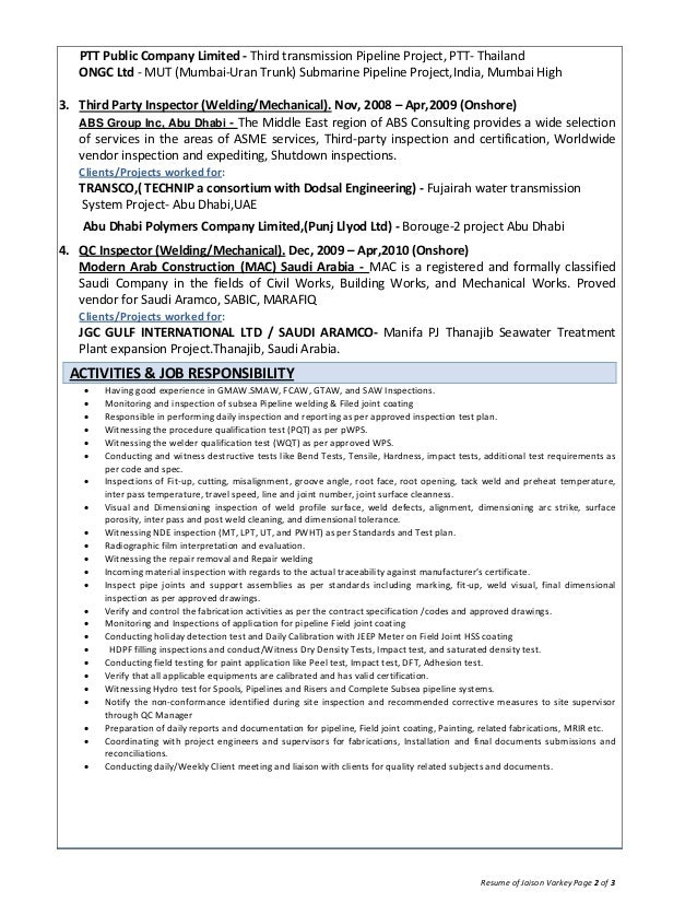 resume of jaison varkey  qa  qc inspector welding coating offshore oi u2026