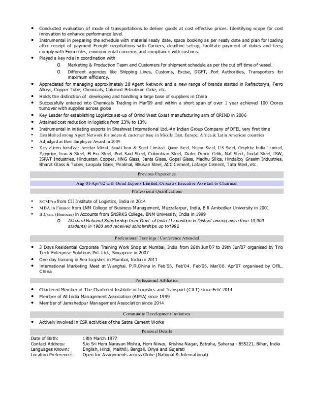 Myra Resume Logistics  Logistics Resume