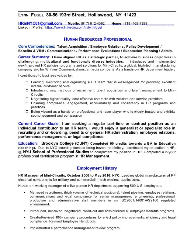 resume of lynn fogel human resources professional seeking part time