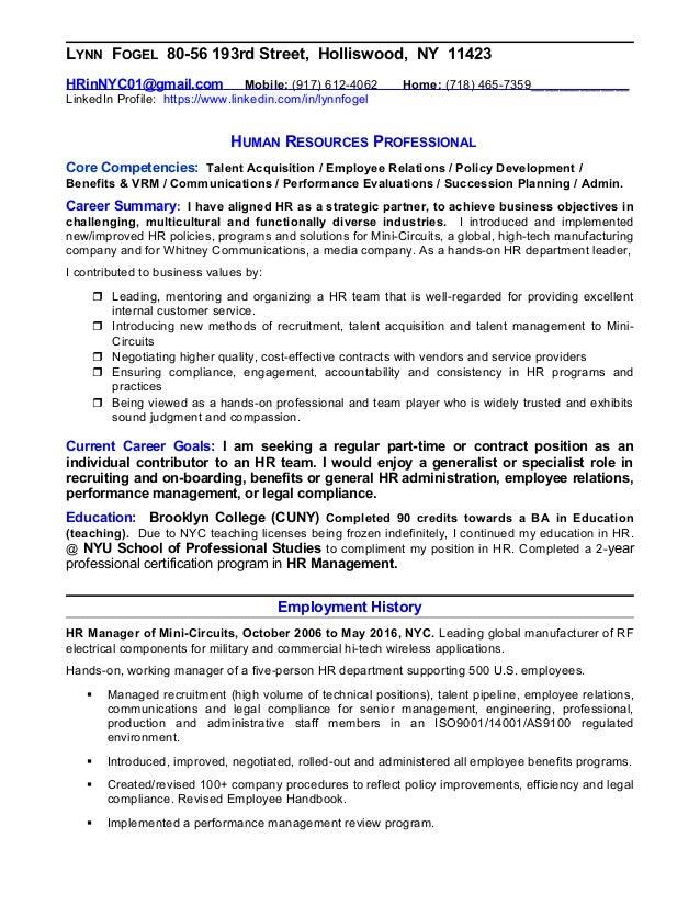 resume of lynn fogel human resources professional seeking part time - Human Resources Professional Resume