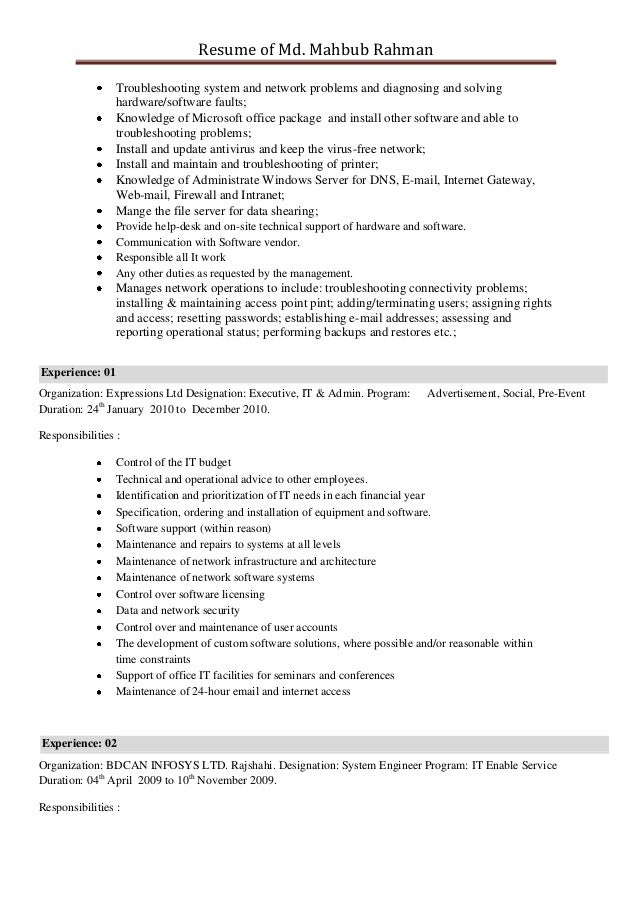 resume of mahbub rahman