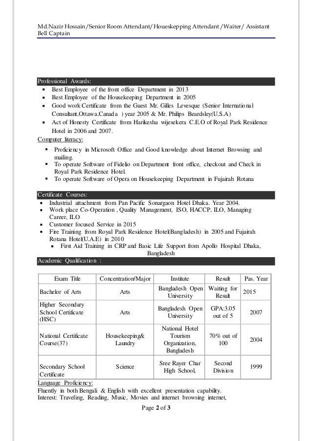 resume of md nazir hossain 1