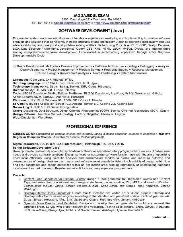 resume of md sajedul islam