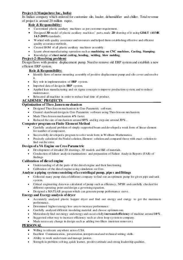 Resume Of Mechanical Engineer
