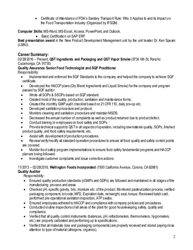 Food technologist product development resume