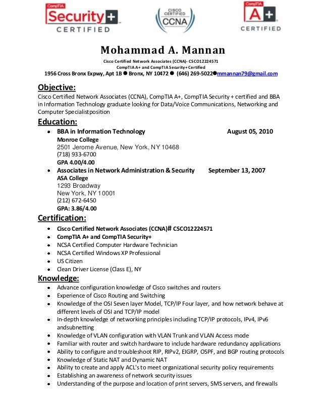 Mohammad A. Mannan Cisco Certified Network Associates ...  Network Security Engineer Resume
