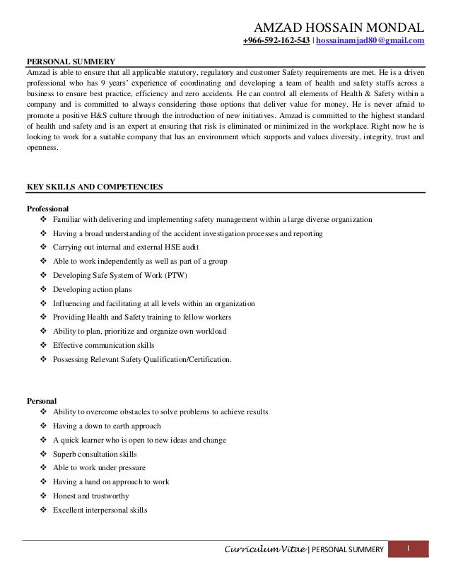 resume of mr amzad - Resume Key Skills And Competencies
